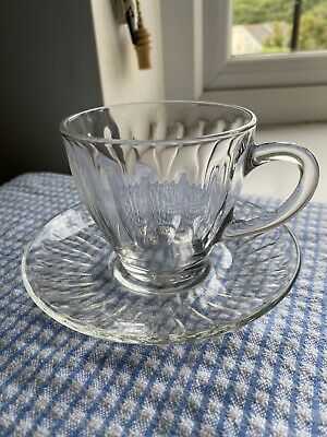 Vintage French Duralex Clear Glass Tea Coffee Cups & Saucers X 6 Sets • 3.80£