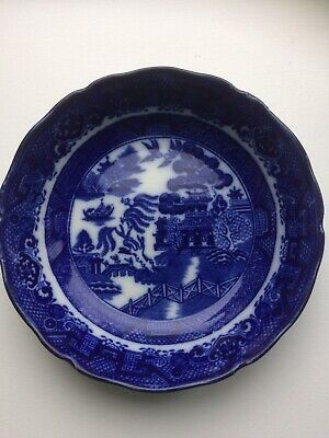 Antique Doulton Burslem Flow Blue And White Willow Pattern Small Bowl • 3.75£
