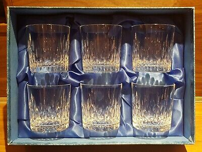 Rare 6 X Doulton International Cut Crystal Tumblers Rummers Boxed Eclipse Design • 15£