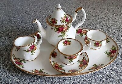 Royal Albert Old Country Roses  Miniature Tea Set On Tray • 40£