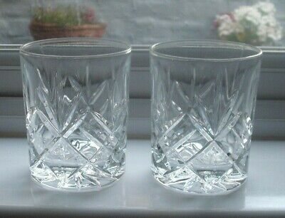 2 Cut Glass Crystal Whisky Tumblers, Mixer Glasses • 5.99£