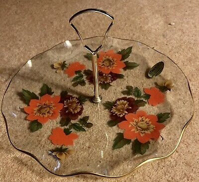 Vintage Chance Clear Glass Flowers Cake Plate With Handle • 3.99£