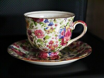 1930's/1940's ROYAL WINTON SUMMERTIME Small Floral Chintz Tea Cup And Saucer • 4.99£