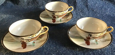 Beautiful Delicate Vintage Antique Oriental Porcelain China Tea Cups And Saucers • 3£