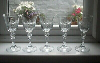 5 Patrick McMahon Acid Etched Wine Glasses, 150 Ml, Signed • 15.99£