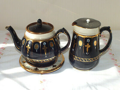 Vintage Imari Style Blue, Gold And Cream Teapot On Stand And Hot Water Pot • 24.65£