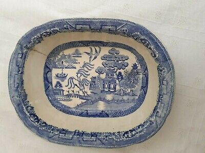 Vintage  Blue & White Willow Pattern Rounded Corner Serving Dish - Cracked • 15£