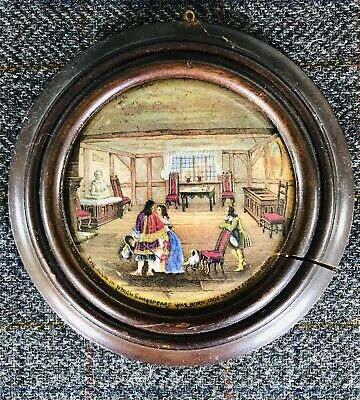 Framed Antique Pictorial Prattware Pot Lid - Shakespeare's Birthplace - No 227 • 7.50£