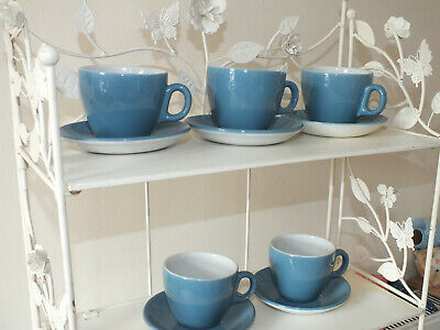 5 X Vintage Maddock Ultra Vitrified Blue Cups And Saucers Utility Ware • 18£