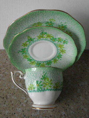 **bell China Trio** Tea Cup - Saucer - Side Plate - Green Floral - Charity Funds • 4.99£