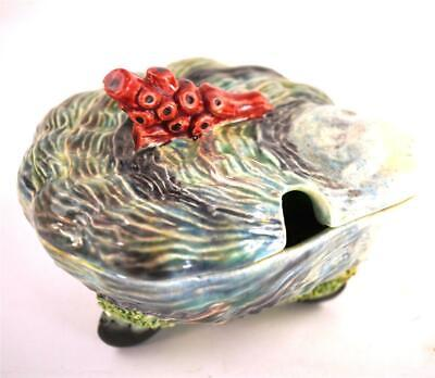 Antique Portugese Majolica Scalop Shell Lidded Dish Coral Muscles • 99.99£