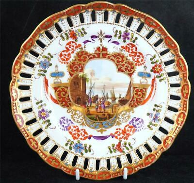 Antique Dresden Porcelain Harbour Scene Reticulated Plate Helena Wolfsohn • 149.99£