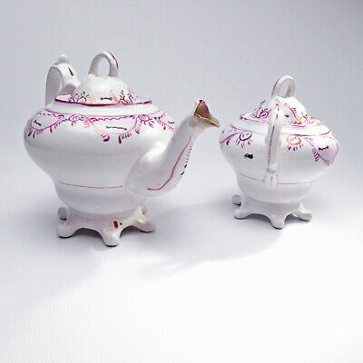 Royal Chelsea Victorian Style Footed Teapot Sugar Bowl Wartime Street Party Ware • 150£