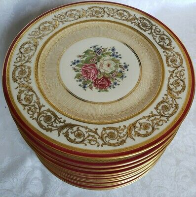 (12) Gda Limoges France Finest French Ivory China Dinner Plates Roses&gold Field • 656.78£
