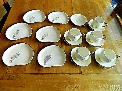 CARLTON WARE 1950's 'WINDSWEPT' PATTERN AUSTRALIAN DESIGN CUPS<SAUCER<PLATES • 20£