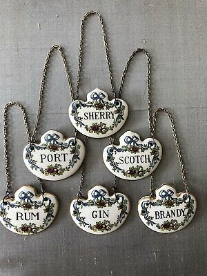 Set Of SIX Collectible Crown Staffordshire Bone China Spirit Decanter Labels. • 52£
