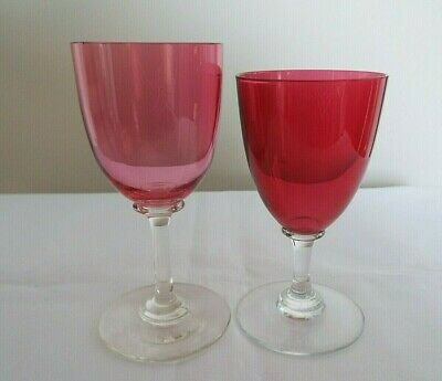 Two Small Cranberry Wine Glasses • 7.95£