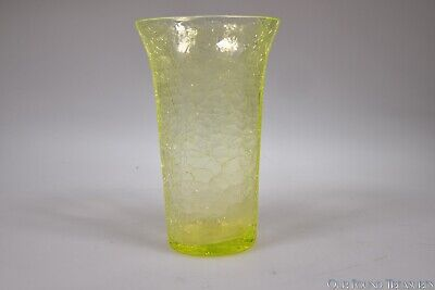 Mid 1900s  CRACKLE GLASS By Possibly McKee CANARY VASELINE Flared Tumbler • 22.56£