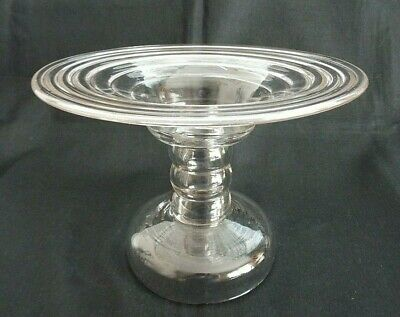 Ribbed Clear Glass Cake Stand • 4.95£