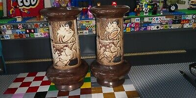 Pair Of Bretby Art Pottery Carved Bamboo Ware Vases, No.1859 23cm Tall • 20£