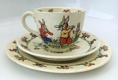 Vintage Ridgway's Jolly Jinks Cup Saucer Plate Rabbits Bears Cricket Squirrels • 5£