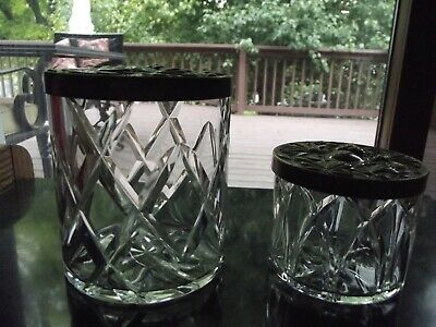 2 Cut Crystal Glass Vanity/ Table Jar & Powder Box Metal Lid Bowl Royal Brierley • 74.70£