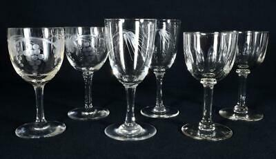 6 Antique Engraved/Cut Glass Wine/Drinking Glasses C1900s-1920s • 29.99£