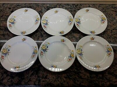 Lovely Set Of 6 British Anchor 9  Floral Picnic Plates In Great Condition • 7.50£
