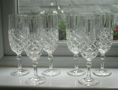 6, Cut Glass Crystal Champagne Flutes • 12.99£