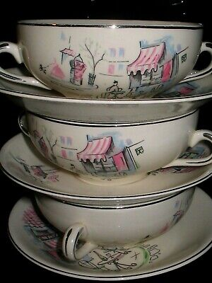 Vintage Alfred Meakin Montmartre Paris Poodle  Twin Handled Cups With Saucers X  • 29£