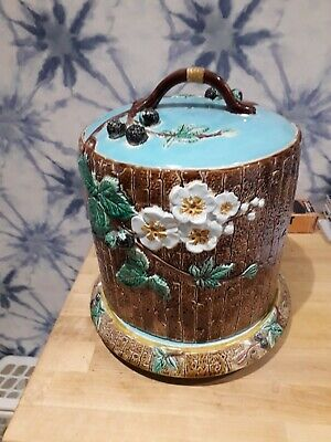 Holdcroft Majolica Blackberry Cheese Dome And Stand Circa 1870s • 135£