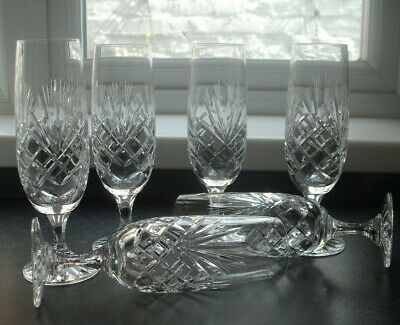 6 Cut Glass Crystal Champagne Flutes • 15.99£