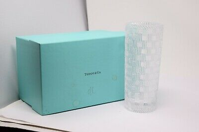 Signed Tiffany & Co. Woven Cylinder Crystal Vase 8-inch Basketweave W Box • 76.57£