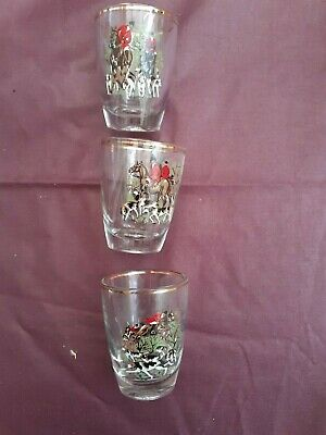 3 Vintage Small Glass Tumblers/shot Glasses Decorated With Hunting Scenes • 9£