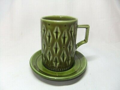 Vintage Eastgate Withernsea Pottery Green Diamond Pattern Coffee Cup & Saucer • 9.99£