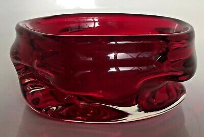 Whitefriars Knobbly Red Glass Bowl • 10£