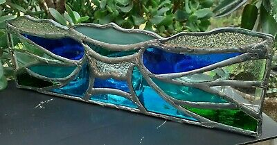 Handmade Stained Glass Abstract Waves Triple Candle Holder • 29.99£