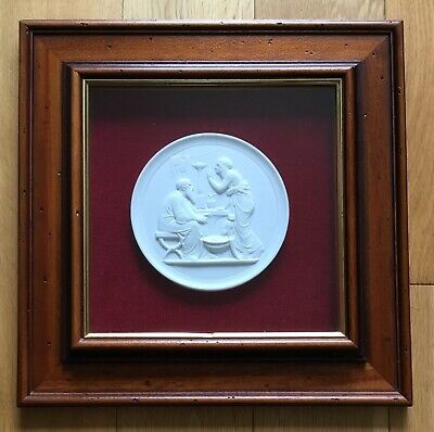 Framed Bing & Gröndahl Winter Wall Relief Bisque Porcelain Medallion Thorvaldsen • 35£