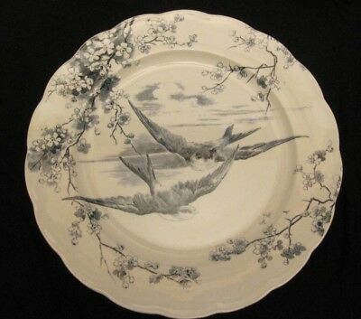 Powell Bishop Stonier  English PB&S  PLATE Swallow Birds Antique • 49£