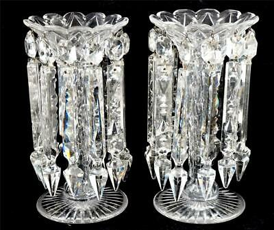 PAIR ANTIQUE CLEAR CUT GLASS LUSTRES 10  26cm Tall - 12 HANGING DROPS ON EACH • 149.99£