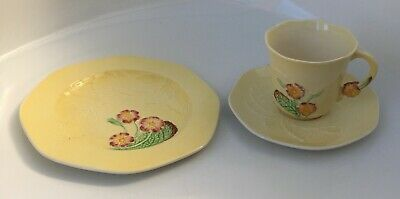 Carlton Ware Lemon Yellow Australian Pattern Cup Saucer & Plate Trio 1st Of 2 • 5£