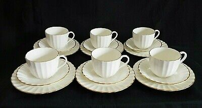 6 X ROYAL WORCESTER STRATHMORE CREAM COFFEE CUPS, SAUCERS & PLATES • 24.50£