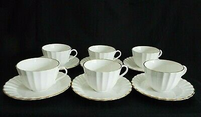 6 X ROYAL WORCESTER STRATHMORE WHITE TEA CUPS & SAUCERS • 18.50£