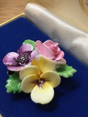 Vintage Royal Adderley Floral China Brooch Pink Yellow Flowers Circa 1960 • 10.49£