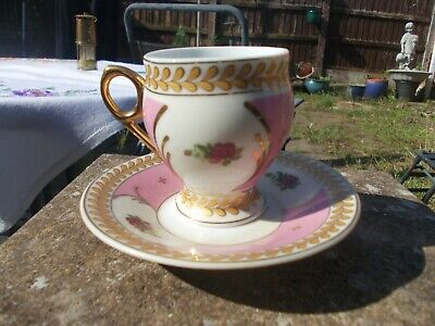 LIMOGES CUP AND SAUCER DEC A LA MARIN 7cm TALL • 2.20£