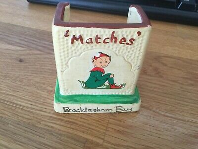 Vintage Manor Ware Matchbox Holder With Striker. BRACKLESHAM BAY. Makers Mark. • 6.99£