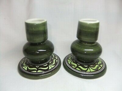 Attractive Pair Of Vintage Jersey Pottery Green Candlesticks Candle Holders • 4.99£