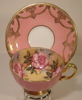 Aynsley Pink Mismatch Floral Cabinet Cup And Saucer • 51£