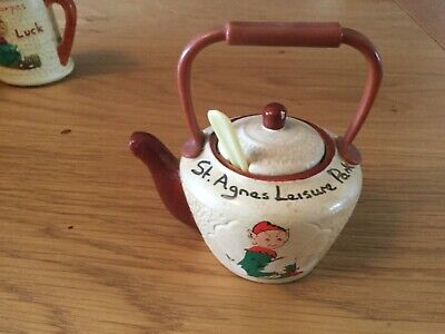 Vintage Manor Ware Kettle Mustard Pot/Liner/Spoon.ST.AGNES LEISURE PARK .1976. • 9.99£