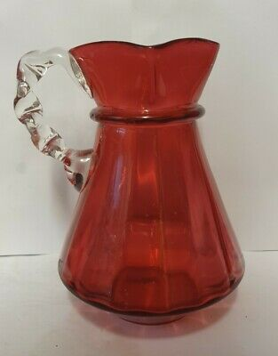 Stunning Large Victorian Cranberry Glass Jug With Clear Glass Handle • 14.99£